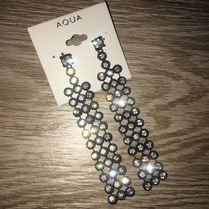➖Aqua➖Black Crystal Chandelier Drop Earrings NWT